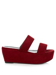 Robert Clergerie Frazzial Suede Flatform Sandals Dark Red