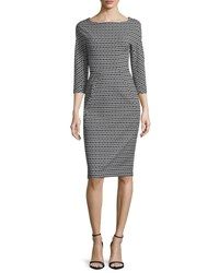 Lela Rose 3 4 Sleeve Geo Print Jacquard Sheath Dress Black Ivory