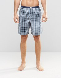 Esprit Lounge Pants Woven Check In Regular Fit Blue