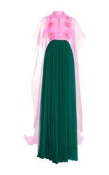 Delpozo Embroidered Silk Tulle Long Dress With Feather Embellishment Green