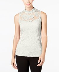 Inc International Concepts Lace Mock Neck Tank Top Only At Macy's Washed White