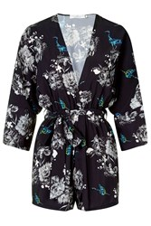 Kimono Playsuit By Oh My Love Black