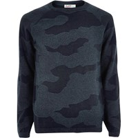Jack And Jones River Island Mens Navy Camo Vintage Jumper