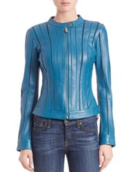 Versace Seamed Leather Jacket Teal