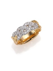 John Hardy Classic Chain Diamond And 18K Yellow Gold Braided Ring