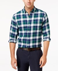 John Ashford Men's Big And Tall Long Sleeve Plaid Shirt Only At Macy's Dark Forest