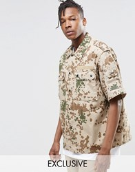 Reclaimed Vintage Camo Shirt In Regular Fit Stone