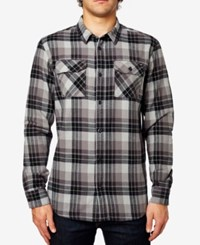 Fox Men's Trail Dust Plaid Long Sleeve Flannel Shirt Black