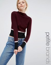 New Look Petite Colour Block Jumper Rich Red