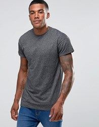 New Look Rolled Sleeve T Shirt In Mid Grey Grindle
