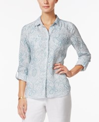 Charter Club Linen Paisley Print Shirt Only At Macy's Dusted Aqua Combo