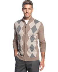 Tasso Elba Big And Tall Argyle Full Zip Sweater Only At Macy's Mocha Combo