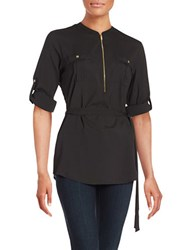 Calvin Klein Zip Placket Tunic Black