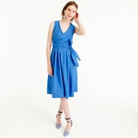 J.Crew Petite Wrap Dress In Cotton Poplin