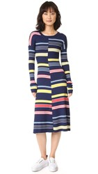 Kenzo Colorblock Striped Dress Midnight Blue