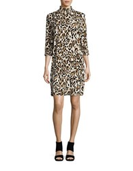 Imnyc Isaac Mizrahi Printed Mockneck Dress Brown Multi