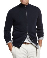 Brunello Cucinelli Full Zip Cotton Sweater Navy