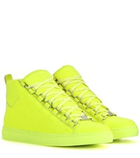 Balenciaga Arena High Top Leather Sneakers Yellow