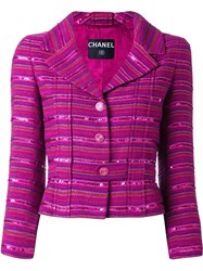 Chanel Vintage Sequin Embellished Striped Blazer Pink And Purple