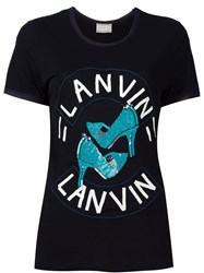 Lanvin Sequinned Shoes Detail T Shirt Black