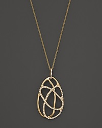 Bloomingdale's Diamond Oval Pendant Necklace In 14K Yellow Gold .35 Ct. T.W. Yellow Gold White Diamonds