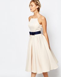 Chi Chi London High Neck Midi Prom Dress With Full Skirt Pastel Parchment