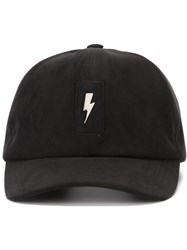 Neil Barrett Lightning Bolt Patch Cap Black