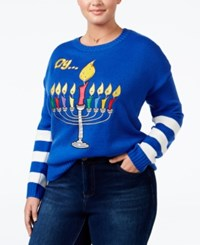 It's Our Time Trendy Plus Size Menorah Light Up Holiday Sweater Deep Sea Dive