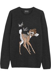 Markus Lupfer Bambi Sequin Embellished Merino Wool Sweater Charcoal
