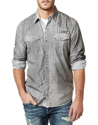 Buffalo David Bitton Long Sleeve Checkered Shirt Grey
