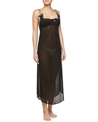 La Perla Ninfea Lace Trimmed Long Gown Black