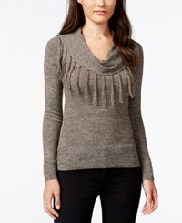Amy Byer Bcx Juniors' Fringed Cowl Neck Pullover Sweater Brown