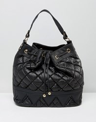 Liquorish Quilted Bucket Bag Black