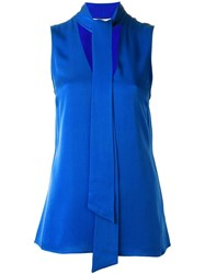 Michael Michael Kors Pussy Bow Sleeveless Top Blue