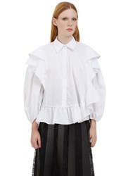 Preen Caron Asymmetric Ruffled Shirt White