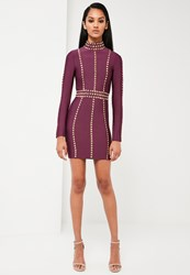 Missguided Purple High Neck Premium Bandage Dress Plum