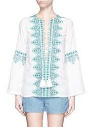 Talitha 'Noor' Embroidery Lace Up Tunic White Blue
