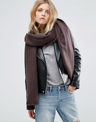 Asos Oversized Long Woven Scarf In Two Tone Chocolate Brown