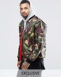 Reclaimed Vintage Ma1 Reversible Bomber Jacket In Camo Green
