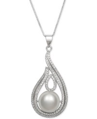 Macy's Cultured Freshwater Pearl 11Mm And Cubic Zirconia Swirl Pendant Necklace In Sterling Silver