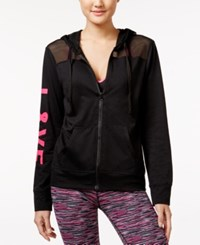 Material Girl Active Love Mesh Trim Hoodie Only At Macy's Black