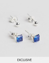 Reclaimed Vintage Silver And Blue Stone Stud Earrings In 2 Pack Sterling Silver Silver