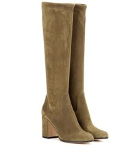 Gianvito Rossi Suede Knee High Boots Green