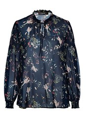 Hallhuber Wide Blouse With Smock Detailing Multi Coloured