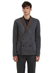 Kolor Double Breasted Contrast Collar Blazer Jacket Grey