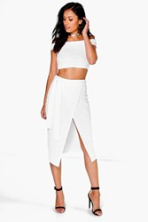 Boohoo Off The Shoulder Crop And Tie Waist Midi Skirt Co Ord Ivory