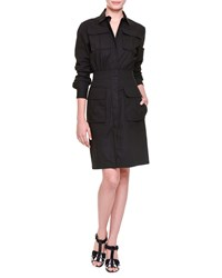 Bottega Veneta Four Pocket Safari Shirtdress Black Nero