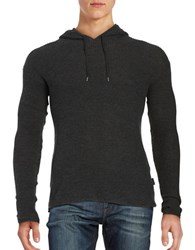 John Varvatos Waffle Knit Long Sleeve Hooded Pullover Graphite