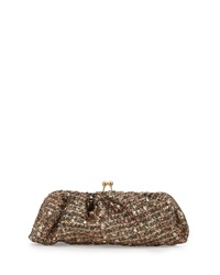 Franchi Metallic Tweed Evening Clutch Bag Gold