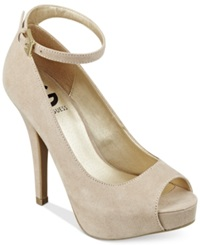 G By Guess Women's Valora Platform Ankle Strap Pumps Women's Shoes Sand Suede